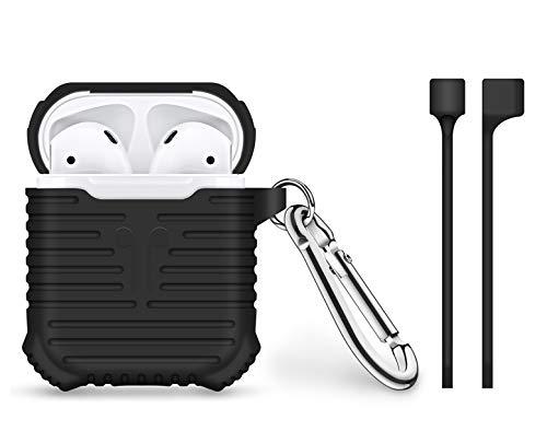Bigphilo [Stripes Series] Hülle für Apple AirPods Aufladen Case - Halteband für AirPods/Kopfhörer Halter Band Strap - AirPods Silikon Schutzhülle Etui Case Tasche - Cover mit Karabiner Haken Schwarz