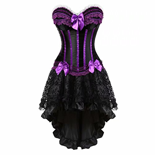 Corsetto Bustino in Pizzo con Gonna Tutu Elegante Donna Sexy Halloween Costumi Natale Abito Set Nero Viola L