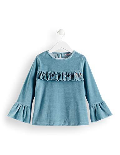 RED WAGON Mädchen Velvet Frill Shift Dress Bluse, Blau (Eggshell Blue), 110 (Herstellergröße: 5) (Mädchen Velvet Blue)