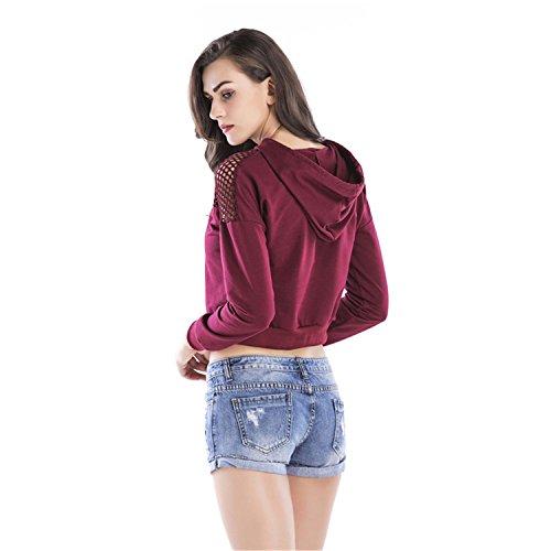 szivyshi Cordon Transparente Empiècements en Maille Sweat à capuche Hoodie Court Courte Crop Coton Sweatshirt Sweat-shirt T-Shirt Boxy Haut Top Bourgogne