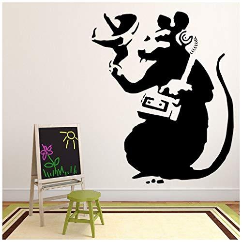 azutura Radio Ratte Wandtattoo Banksy Wand Sticker Graffiti Street Art Wohnkultur verfügbar in 5 Größen und 25 Farben Klein Schwarz (Ratte Radio)