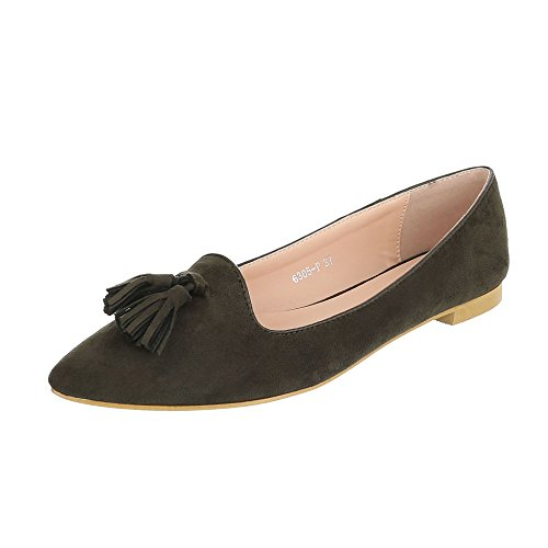 Ital-design Slipper Scarpe Da Donna Low-top Block Heel Block Heel Khaki
