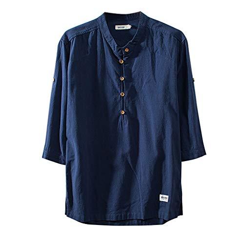 oll Leinen Shirts Stehkragen Sommer Freizeithemd Kurzarm Tops Shirt(XX-Large,Marine) ()