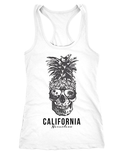 Neverless Cooles Damen Tank-Top Pineapple Skull Sonnenbrille Ananas Totenkopf Slim Fit Weiß S