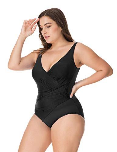 Delimira Damen Badeanzug - Einteiler Schwimmanzug ohne Bügel Schwarz 52