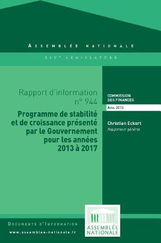 Couverture du livre Rapport d'information sur le projet de programme de stabilité et de croissance pour les années 2013 à 2017