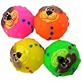 Coribe Dog Puppy Pet Lionhead Squeaky Balls Toys Vinyl Ball Nontoxic Cats Fetch Toy New