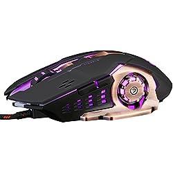 Inphic Ratón Gaming Silencioso, Profesional 4800 DPI USB Alámbrico Ratón Gamer Raton Ordenador PC Portátil de alta 7 RGB LED, 6 Botones Programables 5 DPI Ajustable Ratón Para Juegos, Win 10/8/7/XP, Macbook Pro, Mac OS, Color Negro