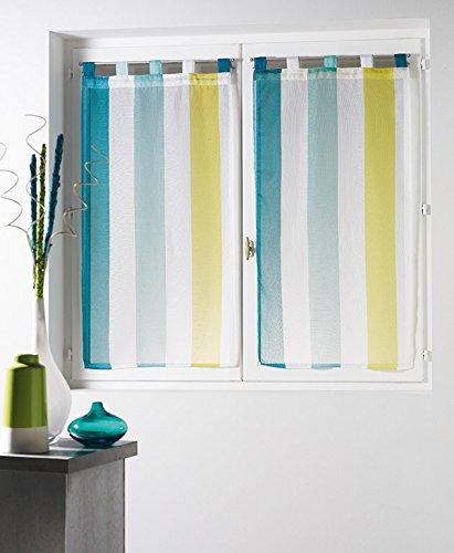 Douceur d'Intérieur Voile Bayadère Riviera Paire Droite Polyester Blanc/Bleu 60 x 90 cm