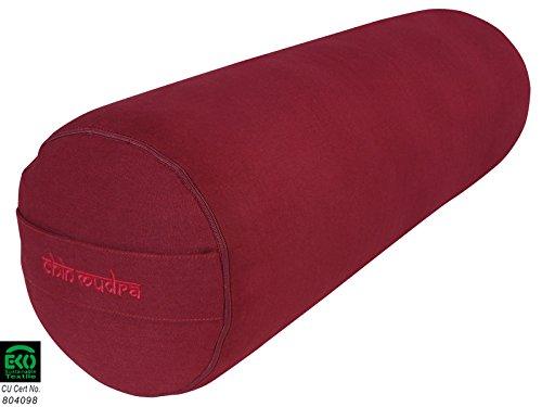 Bolster de yoga 100 % Coton Bio 65 cm x 23 cm - Bordeaux