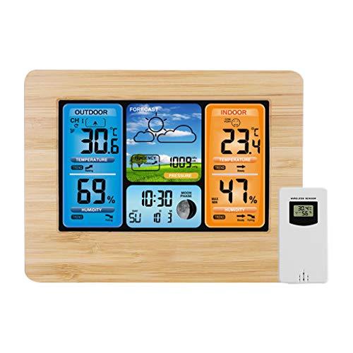 lailongp Digital LCD Funkuhr Funkwecker, Indoor Outdoor Wetterstation Kalender Thermometer
