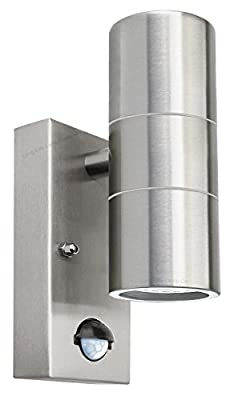 PIR Up Down Outdoor Wall Light Movement Sensor IP65 ZLC0204 In Stainless Steel Finish - inexpensive UK light shop.