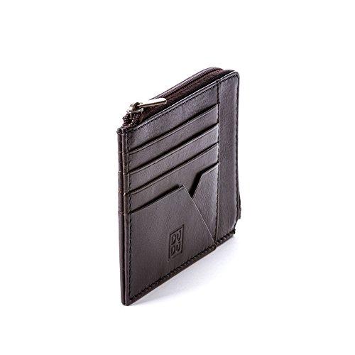 Bustina portamonete documenti carte di credito uomo in pelle con lampo DUDU Marrone scuro