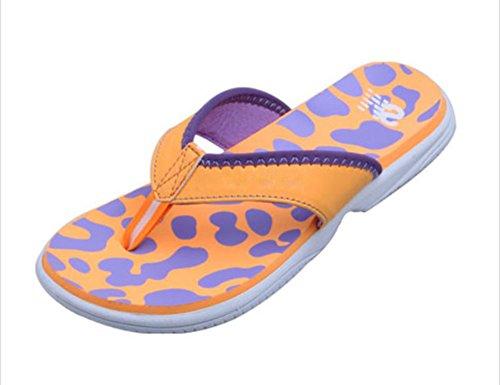 Flip-folps Happy Lily ergonomique antidérapant Semelle Chaussures de piscine Y String Sandales à bout ouvert pour l'intérieur ou extérieur Chaussures décontracté Chaussures Chaussons pour femme Orange
