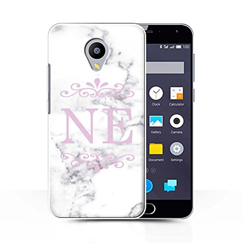 Stuff4® Personalisiert Weiß Marmor Mode Hülle für Meizu M2 Note/Gerahmt Rosa Marke Design/Initiale/Name/Text Schutzhülle/Case/Etui