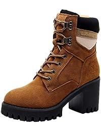 YAN Botines para Mujer, Botas de otoño Cordones Martin Boots Plataforma británica Tacones Altos Rough