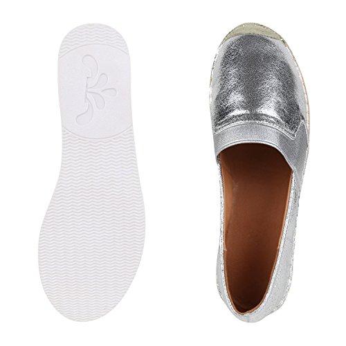 napoli-fashion - Espadrillas Donna argento bianco