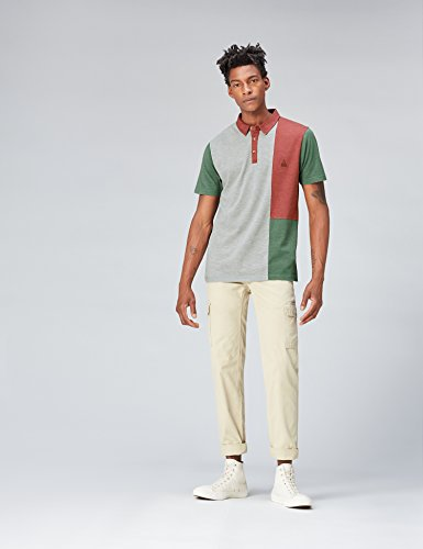 FIND Herren Polo-Shirt mit Colour-Blocking Mehrfarbig (Neutral)