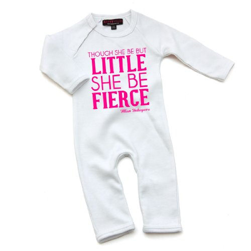 Funky Baby Clothes - Though She Be But Little She Be Fierce William Shakespeare Quote Babygrow