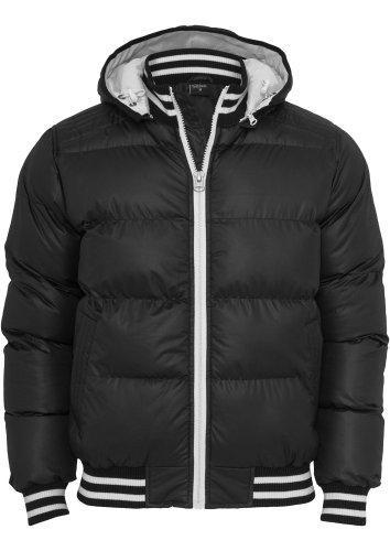 URBAN CLASSICS Hooded College Bubble Jacket, black, Gr. S (Bubble Herren Jacket Hooded)