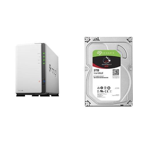 Preisvergleich Produktbild Synology DS216j 2-Bay Desktop NAS-Gehäuse, inklusive 2 x Seagate IronWolf 3 TB, ST3000VN007, interne Festplatte, 8,9 cm (3,5 Zoll), 64 MB Cache, 5900 RPM, SATA 6Gb/s, (6 TB)