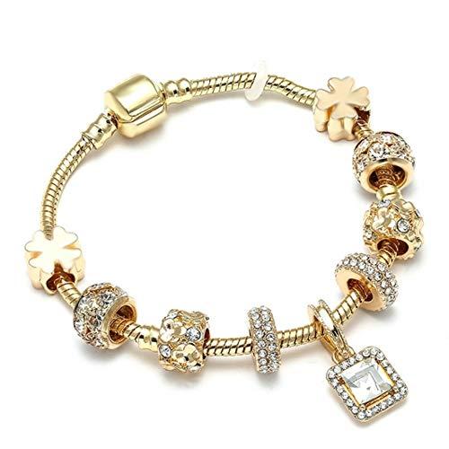 YOYOYAYA Luxury Crystal Love Heart Charm Bracelets & Bangles Gold Color Brand Bracelets for Women Jewellery,18Cm -