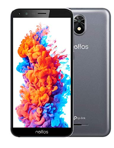 TP-Link Neffos C5 Plus (8GB) Einsteiger Smartphone ohne Vertrag, 5, 34 Zoll FullView Display 18: 9, Dual Sim + Microsd, Android 8.1, Grau