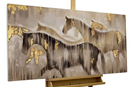 KunstLoft® Acryl Gemälde 'Gemeinsam ans Ziel' 120x60cm | original handgemalte Leinwand Bilder XXL | Pferde Tiere Herde Natur | Wandbild Acrylbild Moderne Kunst einteilig mit Rahmen (Tier-ziele)