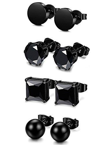 BESTEEL 4Paires Acier Inoxydable Boucle d'oreilles pour Homme Femme Rondes Clou d'oreilles Piercings Studs Cartilage CZ Noir 4-6MM