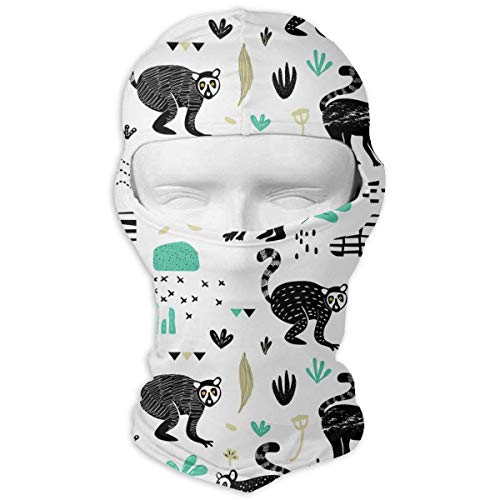Sdltkhy Cute Lemur Men Women Balaclava Neck Hood Full Gesichtsmaske Hat Sunscreen Windproof Breathable Quick Drying White