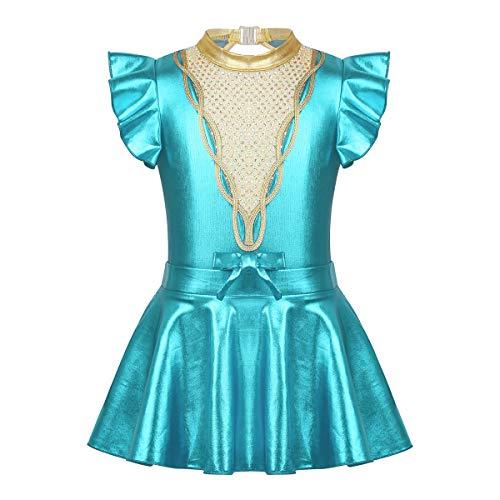 iixpin Vestito Pattinaggio Artistico Body Ginnastica Artistica per Gara Tutu Danza Classica da Balletto Anne-Wheeler Showman Carnevale Halloween Lago Blu 11-12 Anni