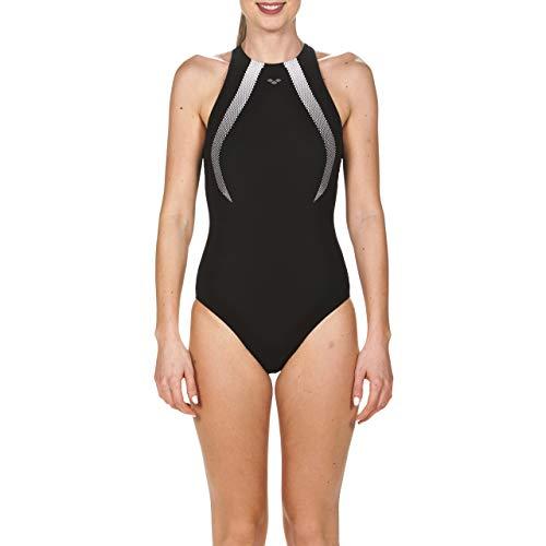 arena Damen Bodylift Badeanzug Therese Squared Back (Shapingeffekt, Figurformend, Schnelltrocknend, UV-Schutz), Black-White (501), 42