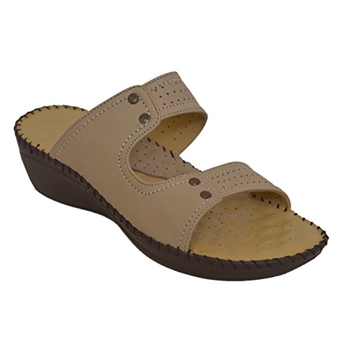 ATHLEGO Dr. Sole Women's Leather Slippers in Beige Color
