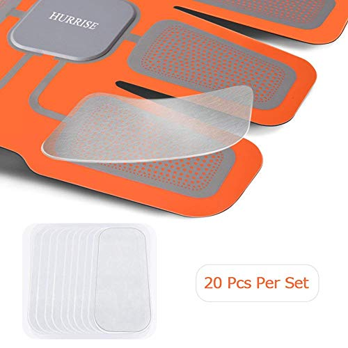 HURRISE Elettrostimolatore Gel di Ricambio,Elettrodi Pad di Gel per Elettrostimolatore Muscolare Professionale 2pezzi×10 pacchi (20 Pezzi)