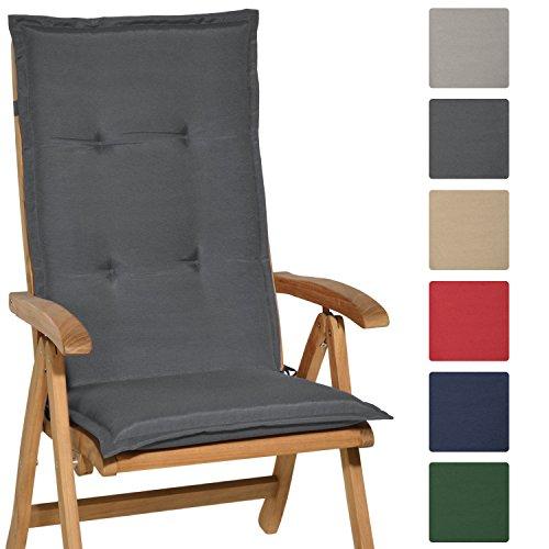 Beautissu Hochlehner Auflage Loft HL 120x50x6cm Sitzkissen Rückenkissen mit Schaumkern-Füllung Graphit-Grau