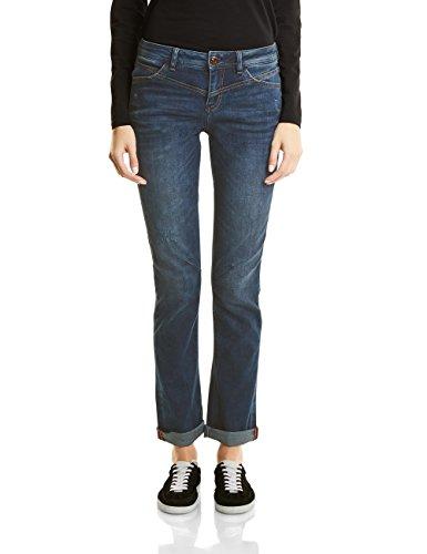 Bleach Wash Denim (Street One Damen Denim-Kate Straight Jeans, Dark Blue Random Bleach wash, 44W / 30L (Herstellergröße: 34))