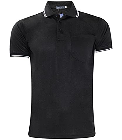 Mens Pocket Polo PK T- Shirt Black 4XL