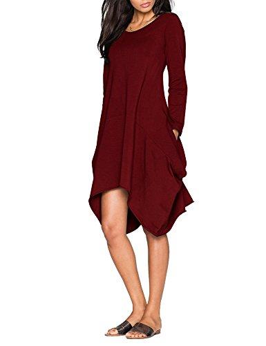 Tribear Damen Langarm Asymmetrische Oversized Kleid Lose Taschen Midi Kleid Weinrot