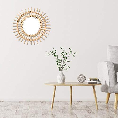 Espejo de vanidad en ratán, espejo plateado, metal, dorado, forma de sol, pared de estilo nórdico