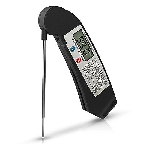 Thermomètre de Cuisine, ZOETOUCH Thermomètre de Cuisson Numérique Digital Pliable avec Sonde Electronique Lecture Instantané 4 secondes , Thermomètre à la Viande Acier Inoxydable pour Barbecue, Cuisine, Viande, Cuisine Bonbons, Lait, Vin et Eau