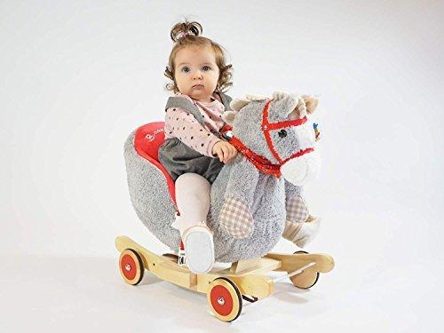Dunjo® Baby Schaukelpferd Schaukeltier Grau | Ab 1 - 3 Jahre | mit Rollen, Gurt und Musik - 2