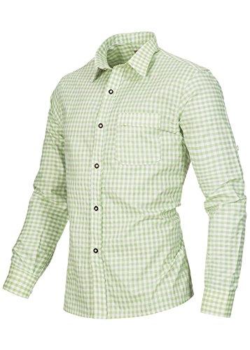 Herren Männer Trachtenhemd kariert in 6 verschiedenen Farben | Slim fit | Krempelärmel | Oktoberfest Hemd | 100% Baumwolle Linde (Hellgrün)