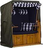 Exquisit Strandkorb-Schutzhülle Schutzhaube Abdeckung aus witterungsbeständigem 600d Oxford Gewebe | Farbe: grün | Winterfest - Atmungsaktiv | Größe M - ca. 120 cm x 150 cm x 85 cm (B x H x T)