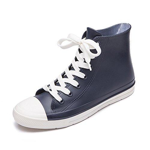 DKSUKO Damen Gummistiefel Verstellbare Schnürschuhe Wellies, Blau und Weiß, Gr.- 38 EU