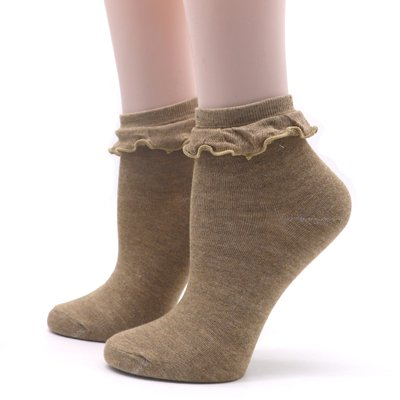 ZHANGJIANJUN 2 Paar Damensocken mit Spitze Schöne Weibliche Damen Socken Damen Socken Spitze Rüschen Retro Socken Weiblich, Braun