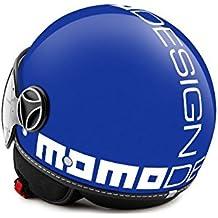 10010020304 CASCO MOMO FIGHTER CLASSIC BLU COBALTO LUCIDO DECAL BIANCA TAGLIA M - Casco Blu