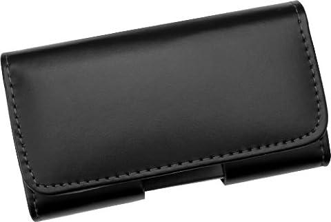 Étui horizontal en vrai cuir, avec clip ceinture et fermeture magnétique pour Apple iPhone 5 / 5s / 5c / iPhone SE [Pas de bumper] - Ligne Premium de AQ