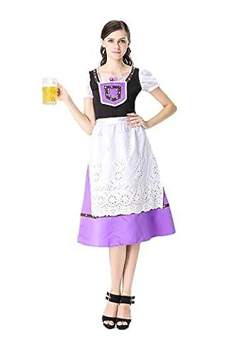 Honeystore Damen Halloween Kostüme The Munich Oktoberfest Dienerin Uniform Cosplay Allerheiligen Kleider für Oktoberfest Violett (Totoro Kostüm-ideen)