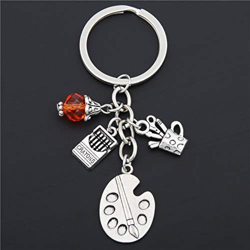 XHYKL 1 stück Maler Tools-Palette & Pinsel Schlüsselbund Mit Perlen Schmuck Tibetischen Silber Charme Anhänger Schlüsselanhänger Ring DIY Fit Schlüsselbund