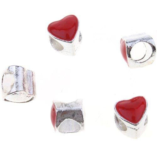 25pcs argento placcato smaltato perline rosse di stile del cuore del metallo della lega europee - Smaltato Cuore Bead